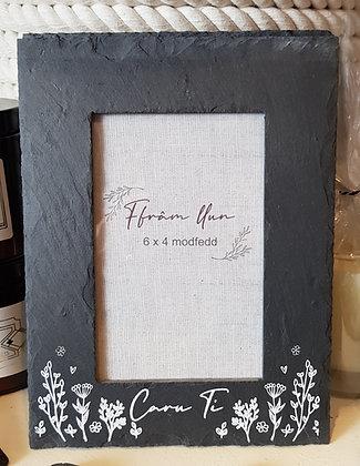 Slate photo frame welsh  'Caru Ti' (Love you)