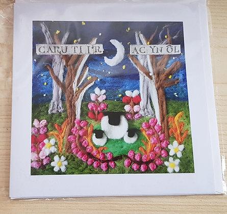 "Carden ""Caru ti i'r lleuad ac yn ol"" Card (Love you to the moon and back)"
