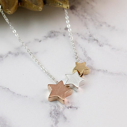 Silver, gold and rose gold plated triple star necklace 02591