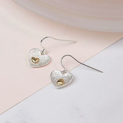 Silver plated heart and gold plated heart inset earrings