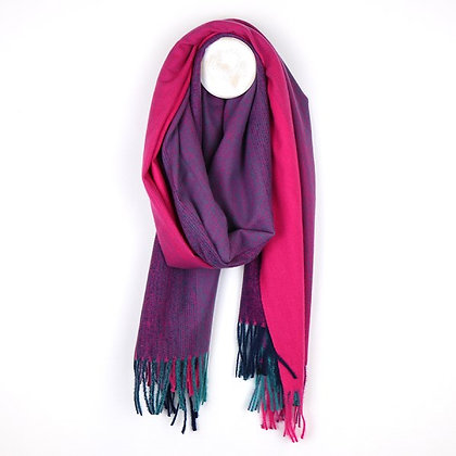 Pink to purple ombre winter scarf with fringes