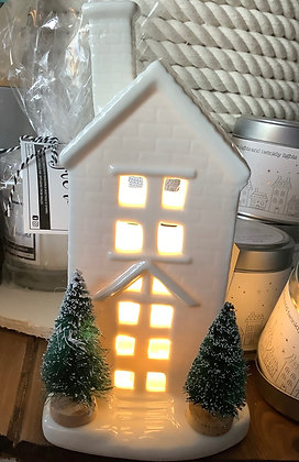 Ceramic light up house with trees