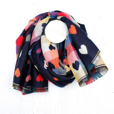 Navy Blue mix multi hearts winter scarf