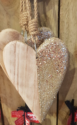 Large wooden hanging heart - half covered with Gold glitter