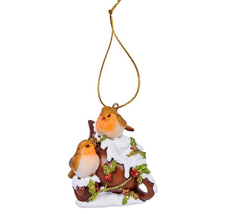 Robins on teapot hanging decoration