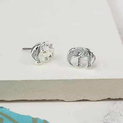Silver plated elephant stud earrings with crystal detail