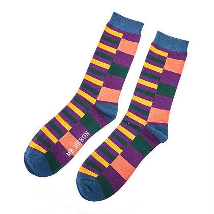 Mr Heron Bamboo Socks -Thick & Thin Stripes  - Choice of 2 - Mens