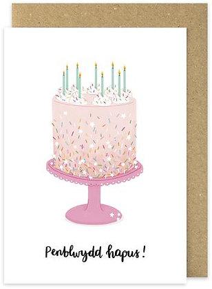 Cacen Penblwydd Hapus/Happy Birthday cake card