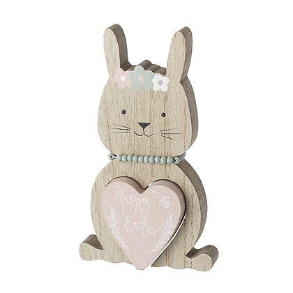 Wooden Happy Easter Rabbit - Heart Cut Out