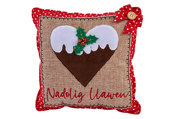 Small Welsh Nadolig Llawen cushion