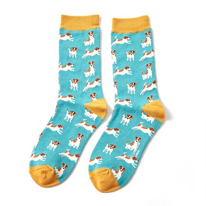 Miss Sparrow Bamboo Jack Russell Socks Turquoise