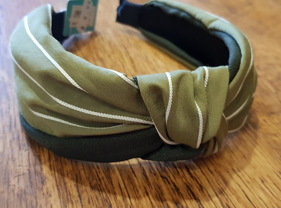 Sage Green fabric headband with fine white stripes