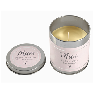 Mum  Peony scented soy wax candle in tin  270g