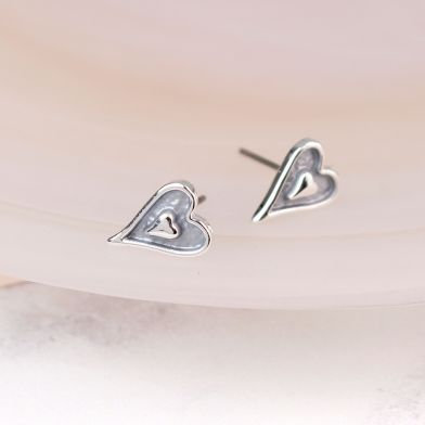 POM Silver plated grey enamel heart inset stud earrings