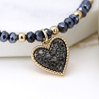 Black crystal and golden bead bracelet with heart charm 03239