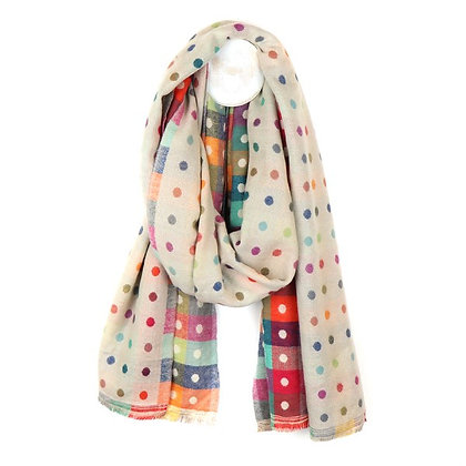 Cream multicoloured reversible jacquard dotty scarf