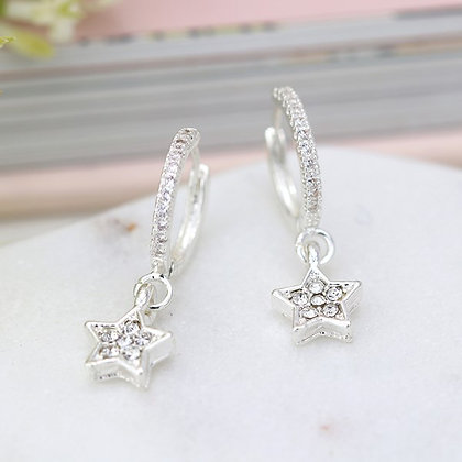 Silver plated crystal inset hoop and star drop earrings 03315