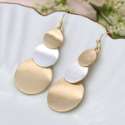 Gold and silver plated triple brushed disc earrings