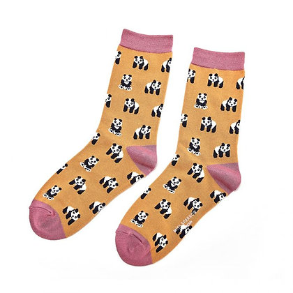 Miss Sparrow Bamboo Socks- Pandas Mustard