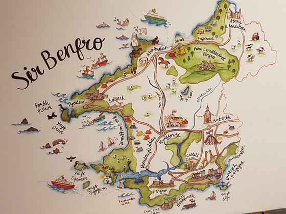 Sir Benfro County Illustrated Map Print by Megan Tucker
