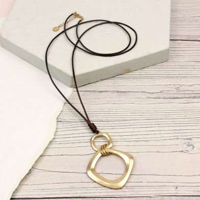 POM Worn Gold Square Hoops Brown Cord Necklace