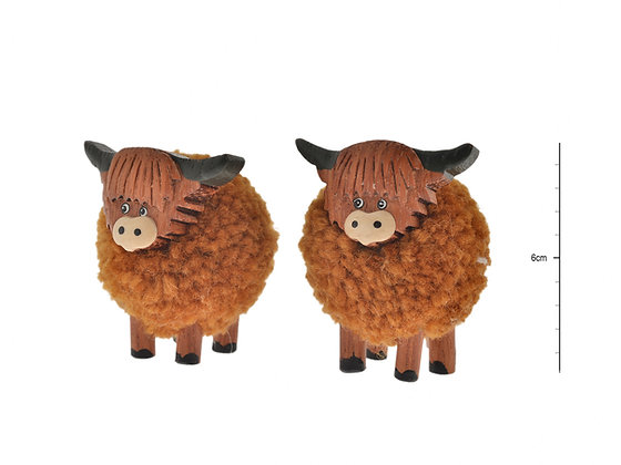 Highland Cow Pom Pom mini standing decoration
