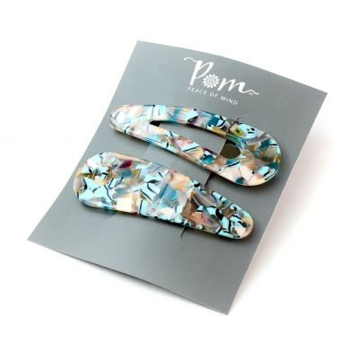 Turquoise mix double teardrop hairclip set
