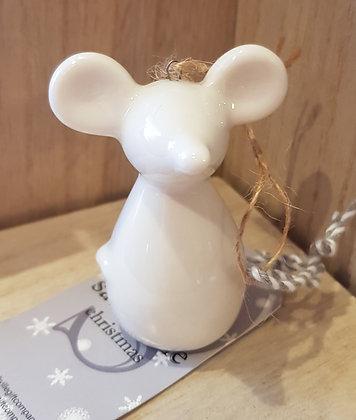 Ceramic small White Mouse decoration