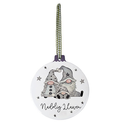 Ceramic 'Nadolig Llawen' (Merry Christmas) Gonk Hanging Decoration