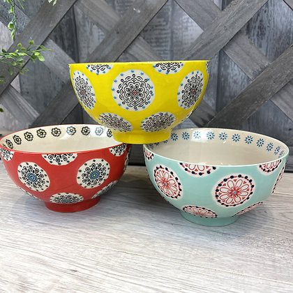 Bright patterned bowls - choice of 3