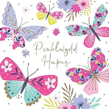 Carden Penblwydd Hapus / Happy Birthday Card Butterfly