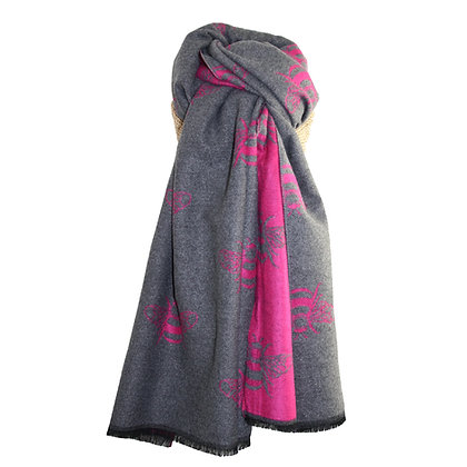Cosy Bee Scarf - Grey & Hot Pink