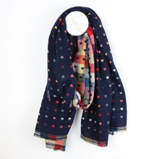 Navy blue and multi check scarf with little reversible jacquard hearts