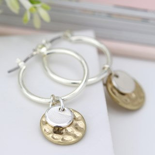 Silver plated hoop, hammered gold and silver disc earrings 03295