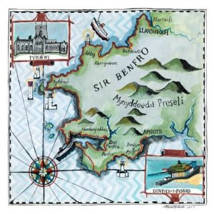 Lizzie Spikes Driftwood Design Pembrokeshire Map Square Greetings Card