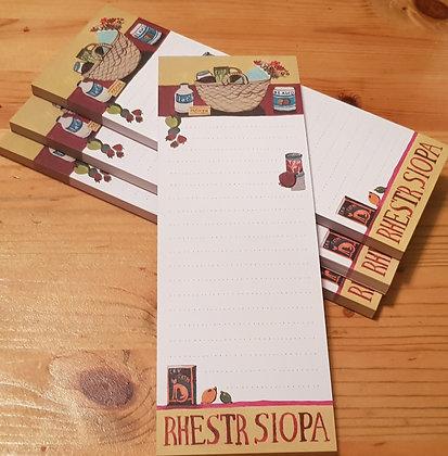 "Lizzie Spikes Driftwood designs ""Rhestr Siopa"" (Shopping List) Pad"