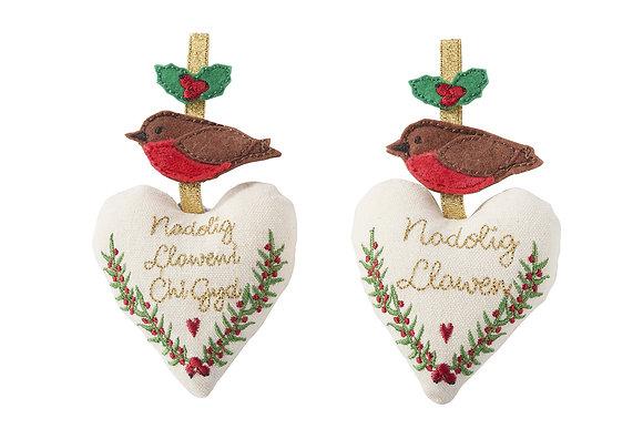 Calon Nadoligaidd Robin/Welsh Christmas Robin heart