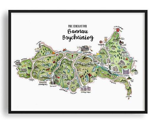 Parc Cenedlaethol Bannau Brycheiniog Illustrated Map Print by Megan Tucker