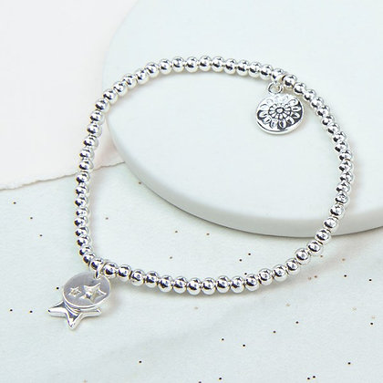 Silver plated bracelet with star charm and star disc