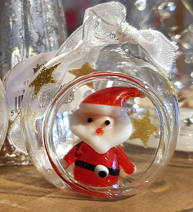 Mini Glass Santa hanging decoration