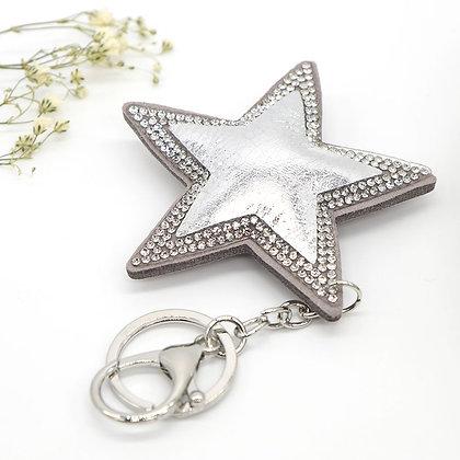 Metallic shimmering star shaped keyring - Silver, Blue, Pink