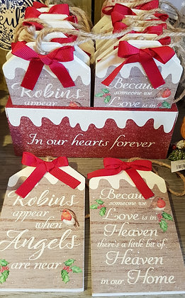Glittery Robin tags with red bow - choice of 2