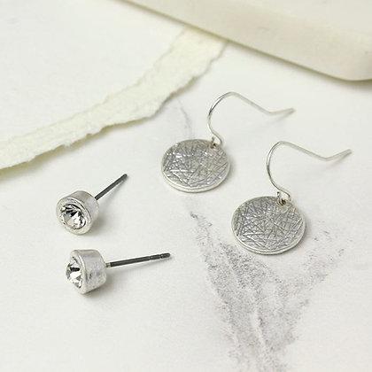 POM Silver stud earrings and drop earrings set