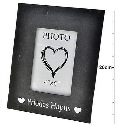 Slate Photo Frame -  Priodas Hapus (Happy Wedding)