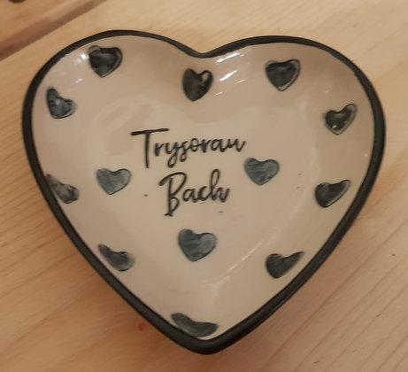 Small handpainted heart dish -Trysorau Bach ( little treasures)