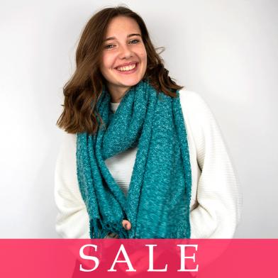 POM Aqua Soft Knit Tassel Scarf - SALE