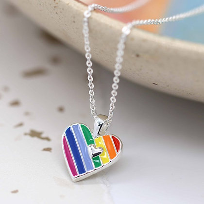 Silver Plated RAINBOW ENAMELLED HEART NECKLACE