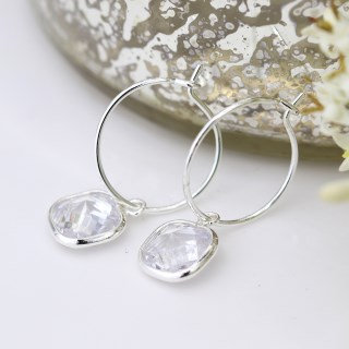 Silver plated fine hoop and square crystal drop earrings 03289