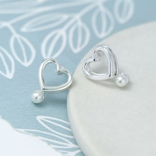Silver plated double heart earrings with white pearls - 03159