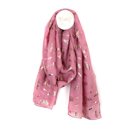 Pink scarf with metallic rose gold feather print